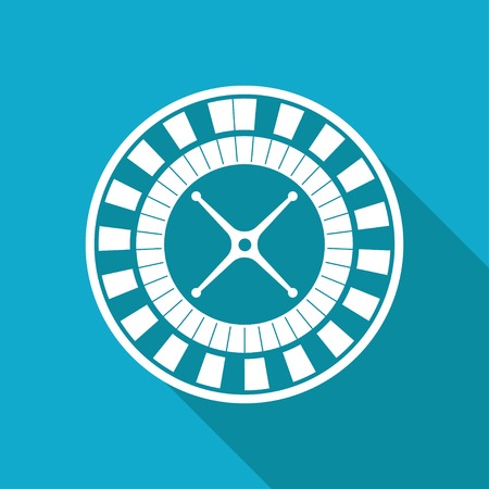 wheel spin: Vector white flat casino roulette wheel icon on blue background