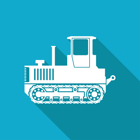 land development: Vector white flat heavy machine icon on blue background