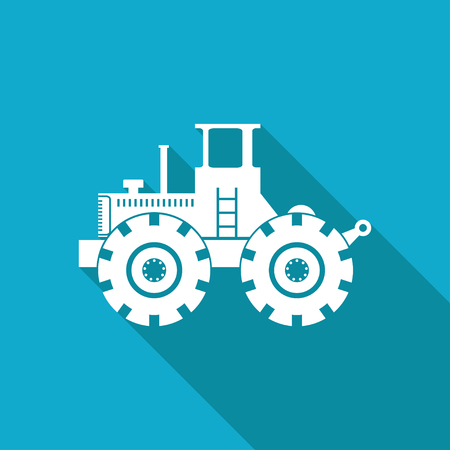 car loader: Vector white flat heavy machine icon on blue background