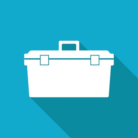 toolkit: Vector white flat toolkit icon on blue background . Industrial equipment