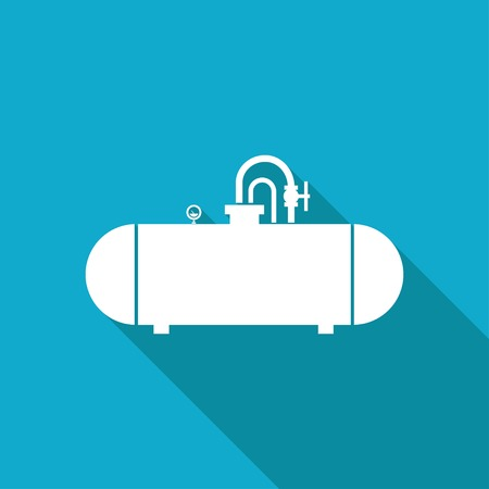 cistern: Vector white flat cistern icon on blue background