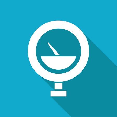 manometer: Vector white flat manometer icon on blue background