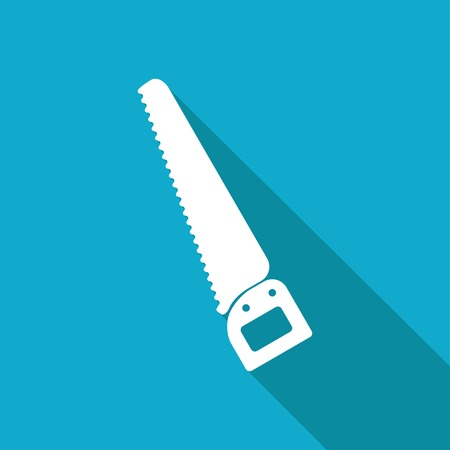 crosscut: Vector white flat saw icon on blue background . Industrial equipment