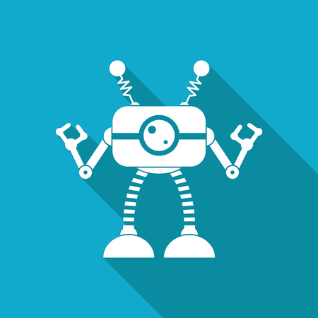 robot toy: Vector white flat retro robot toy icon on blue background Illustration