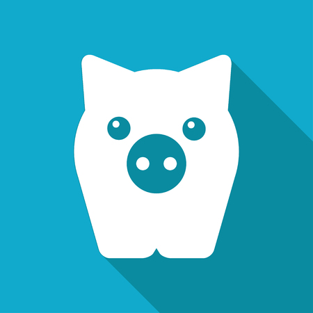 oink: Vector white flat pig icon on blue background Illustration