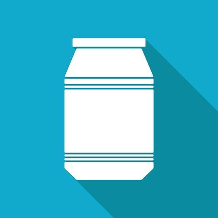 unlabeled: Vector white flat kitchen bottle template on blue background