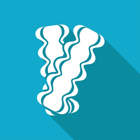 browned: Vector white flat bacon icon on blue background