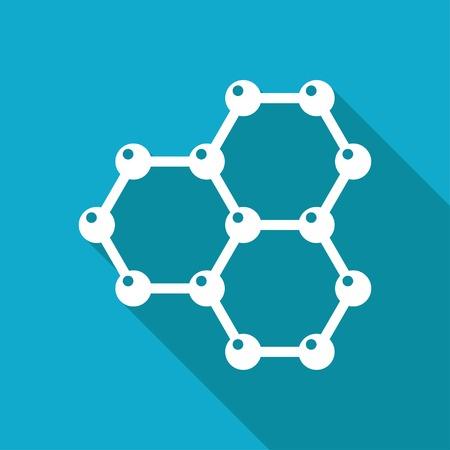 graphene: Vector white flat graphene icon on blue background . Science illustration