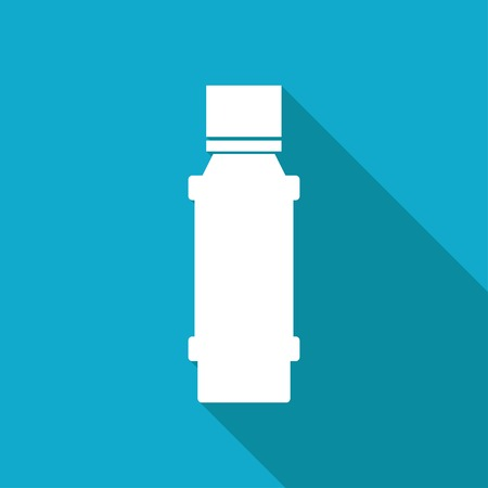 flavoring: Vector white flat flavoring bottle on blue background . Kitchen icon