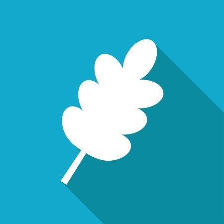 flat leaf: Vector white flat leaf icon on blue background