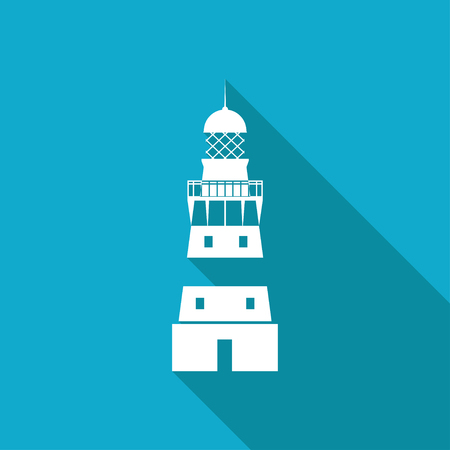 lighthouse keeper: Vector white flat lighthouse icon on blue background