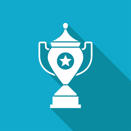 blue icon: Vector white flat trophy goblet icon on blue background . Winner award