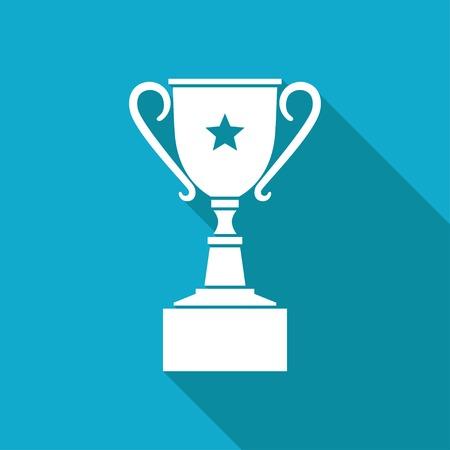 Vector white flat trophy goblet icon on blue background . Winner award