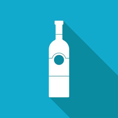 unopened: Vector white flat vine bottle template on blue background