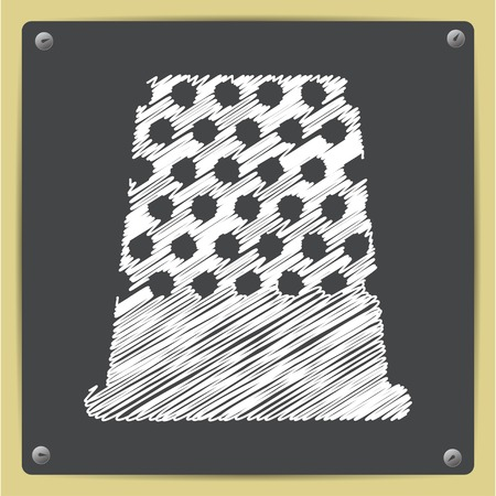 thimble: Vector chalk drawn in sketch style tailor thimble for finger icon on school blackboard