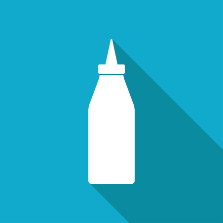 ketchup: Vector white flat bottle with ketchup icon on blue background