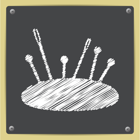 large group of items: Vector chalk drawn in sketch style tailor pins and needles icon on school blackboard Illustration