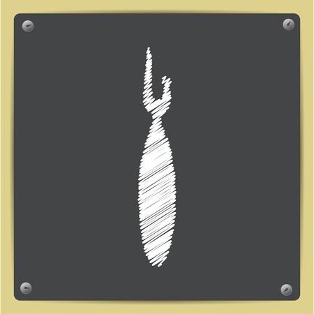 ripper: Vector chalk drawn in sketch style tailor seam ripper icon on school blackboard