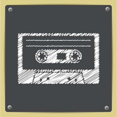 cassette tape: Vector chalk drawn in sketch style retro cassette icon on school blackboard