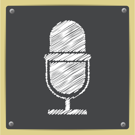 Vector chalk drawn in sketch style retro microphone icon on school blackboard