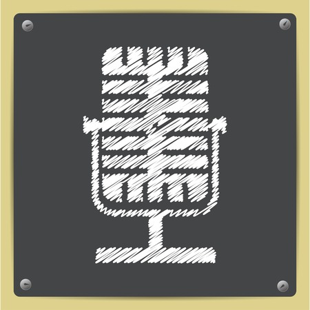 oldie: Vector chalk drawn in sketch style retro microphone icon on school blackboard