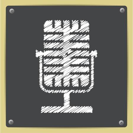 entertaining presentation: Vector chalk drawn in sketch style retro microphone icon on school blackboard