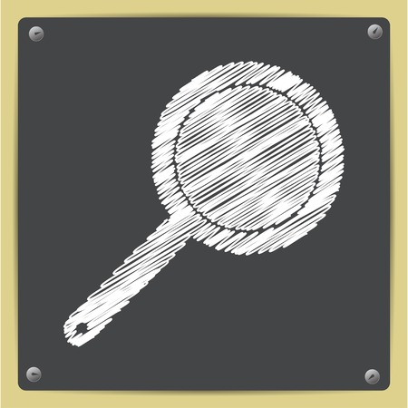 steam cooker: Vector chalk drawn in sketch style pan icon on school blackboard