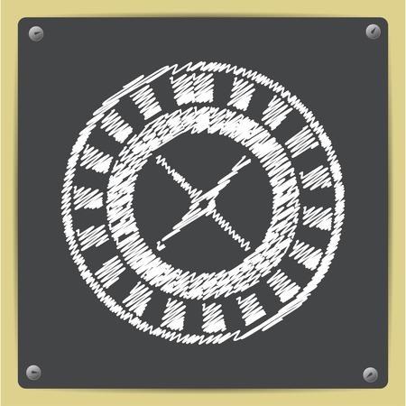 wheel of fortune: Vector chalk drawn in sketch style casino roulette wheel icon on school blackboard Illustration