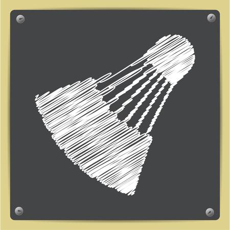 cross match: Vector chalk drawn in sketch style simple badminton icon on school blackboard