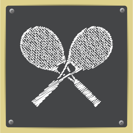 bounces: Vector chalk drawn in sketch style tennis rackets icon on school blackboard Illustration