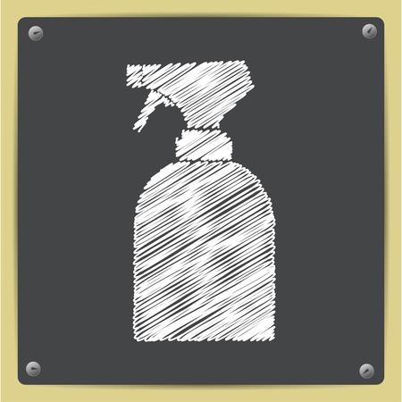 sprayer: Vector chalk drawn in sketch style sprayer bottle on school blackboard Illustration