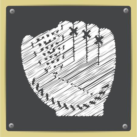 Vector chalk drawn in sketch style baseball glove icon on school blackboard