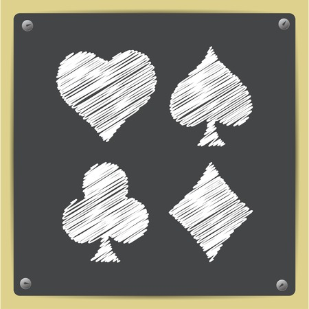 black jack: Vector chalk drawn in sketch style game casino cards suit icon on school blackboard