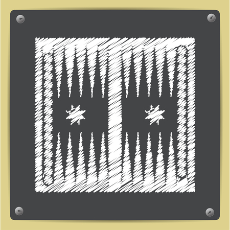 backgammon: Vector chalk drawn in sketch style backgammon table with dices icon on school blackboard