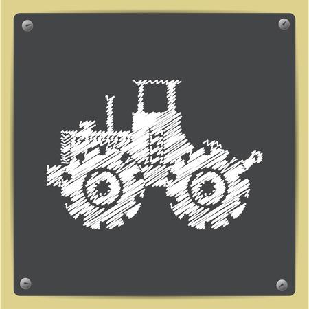 land development: Vector chalk drawn in sketch style heavy machine icon on school blackboard Illustration