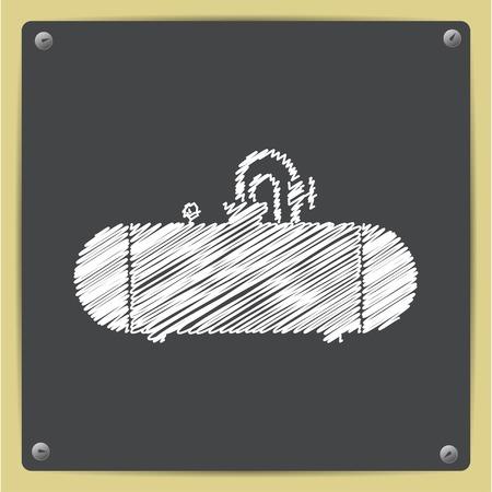 cistern: Vector chalk drawn in sketch style cistern icon on school blackboard