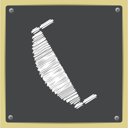 crosscut: Vector chalk drawn in sketch style saw icon on school blackboard . Industrial equipment Illustration