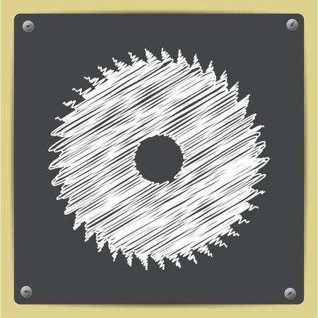 buzz saw: Vector chalk drawn in sketch style circular saw icon on school blackboard Illustration