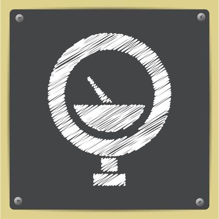 manometer: Vector chalk drawn in sketch style manometer icon on school blackboard Illustration