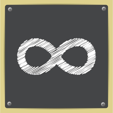 eternally: Vector chalk drawn in sketch style infinity icon on school blackboard