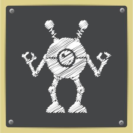 retro robot: Vector chalk drawn in sketch style retro robot toy icon on school blackboard Illustration