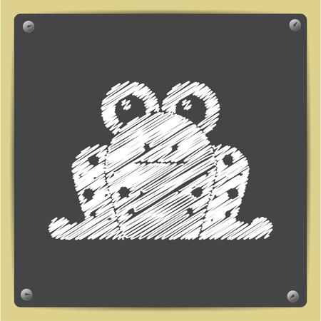 zoo amphibian: Vector chalk drawn in sketch style frog icon on school blackboard