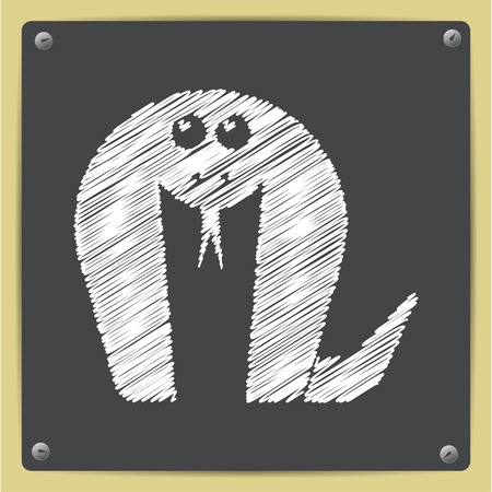 anaconda: Vector chalk drawn in sketch style cobra icon on school blackboard