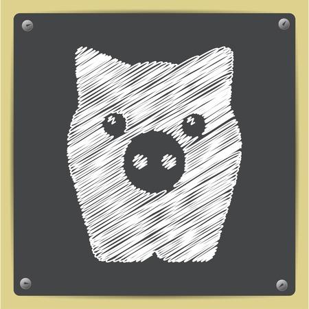oink: Vector chalk drawn in sketch style pig icon on school blackboard Illustration