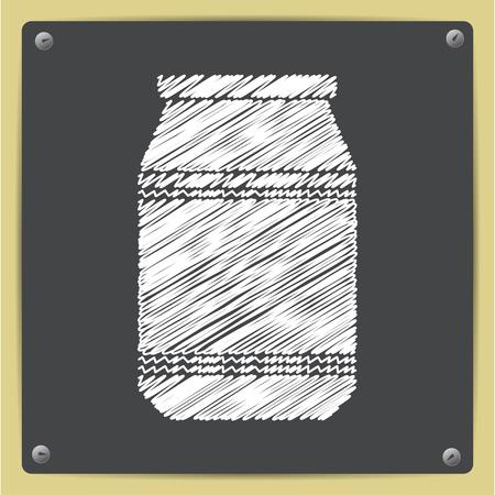 unlabeled: Vector chalk drawn in sketch style kitchen bottle template on school blackboard