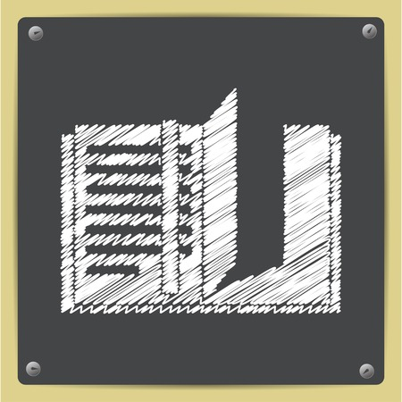 read magazine: Vector chalk drawn in sketch style notebook icon on school blackboard