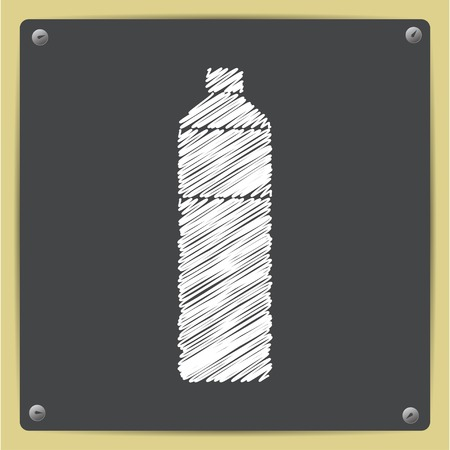 pure element: Vector chalk drawn in sketch style water bottle on school blackboard