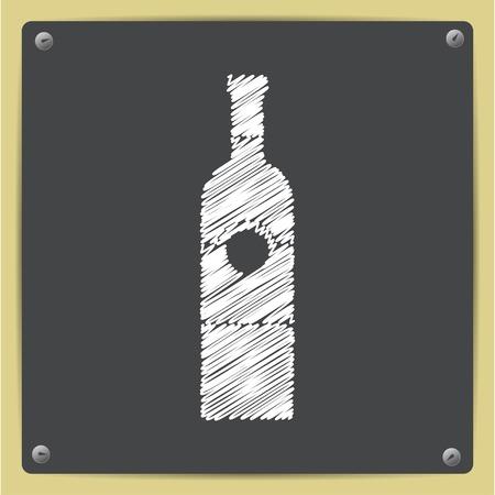 vino: chalk drawn in sketch style vine bottle template on school blackboard Illustration