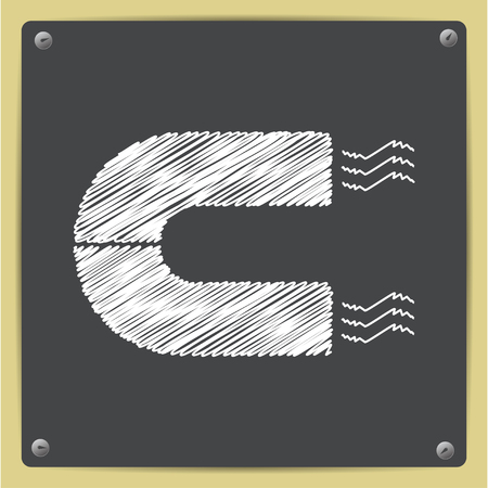 natural forces: chalk drawn in sketch style magnet icon on school blackboard Illustration
