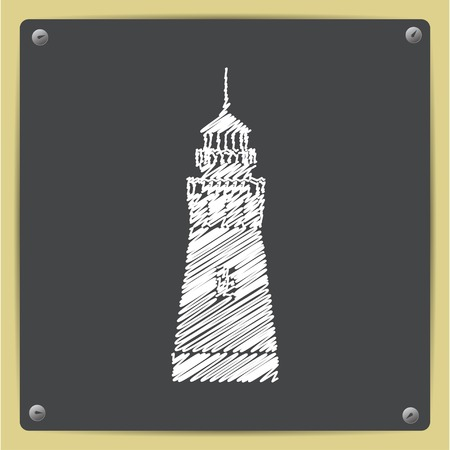 hope symbol of light: chalk drawn in sketch style lighthouse icon on school blackboard Stock Photo